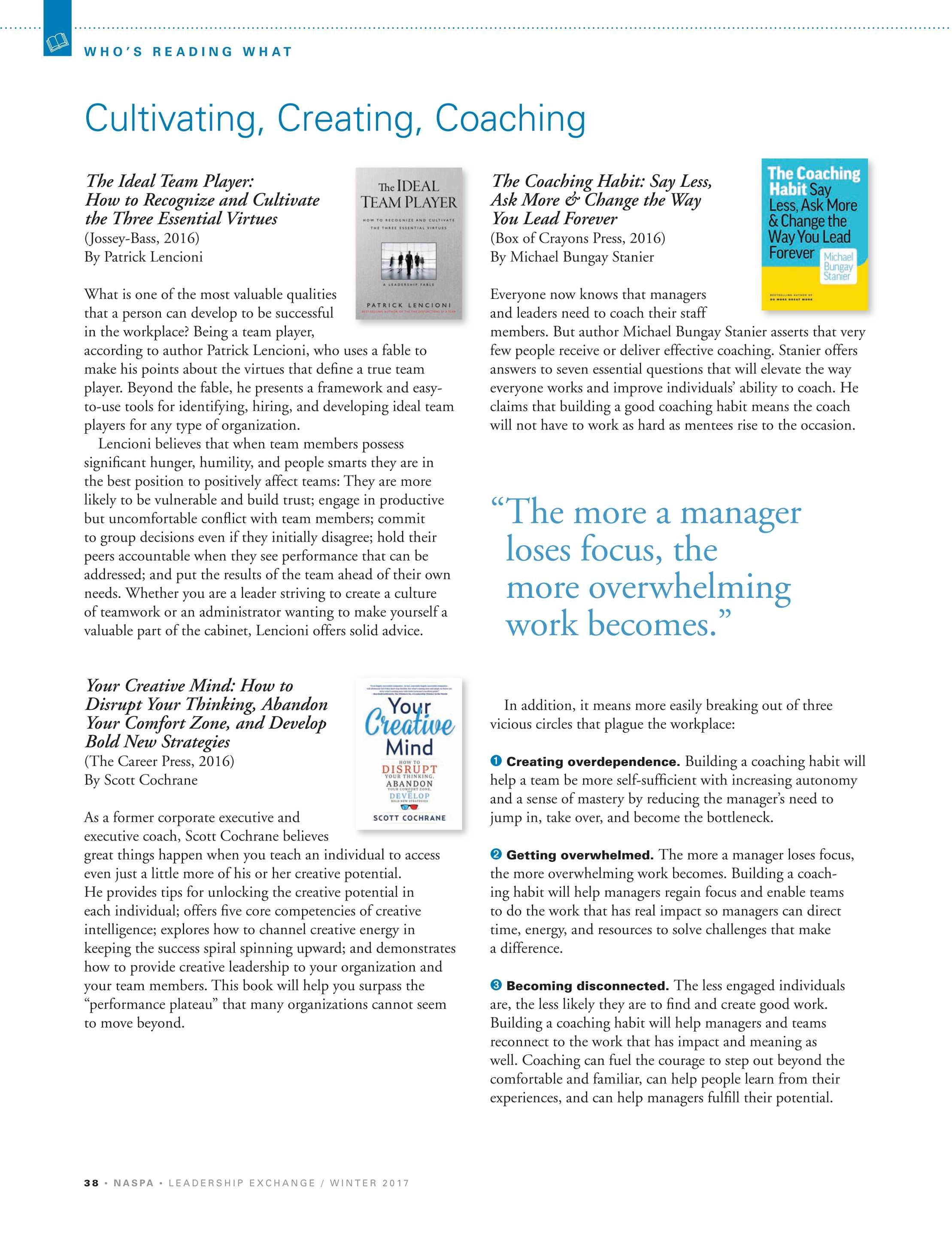 Leadership Exchange - Winter 2017 - page 38